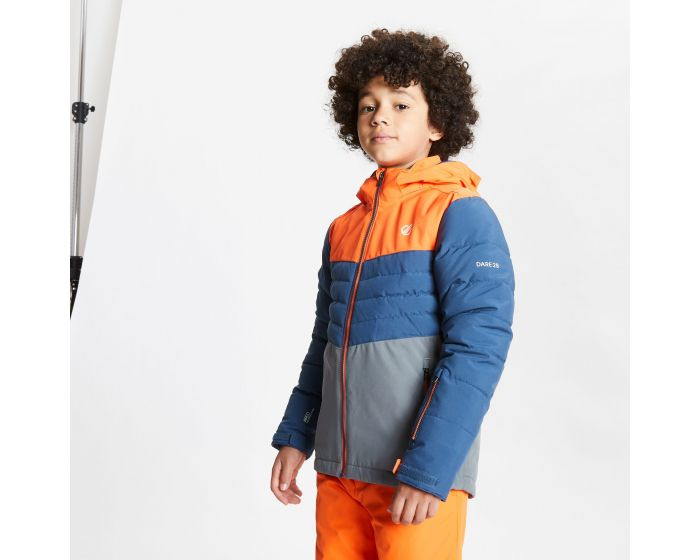 Dare 2b - Kids Freeze Up Waterproof Insulated Hooded Ski Jacket Blaze Orange Dark Denim