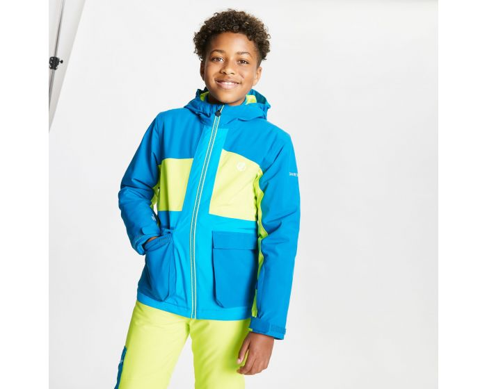 Dare 2b - Kids Esteem Waterproof Insulated Hooded Ski Jacket Petrol Blue Lime Punch