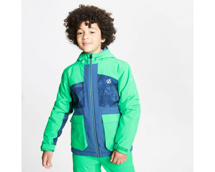 Dare 2b - Kids Esteem Waterproof Insulated Hooded Ski Jacket Vivid Green Dark Denim