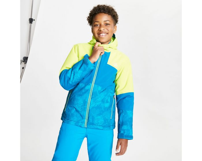 Dare 2b - Kids Cavalier Waterproof Insulated Hooded Ski Jacket Lime Punch Petrol Blue