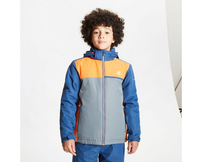Dare 2b - Kids Depend Waterproof Insulated Hooded Ski Jacket Dark Denim Blaze Orange