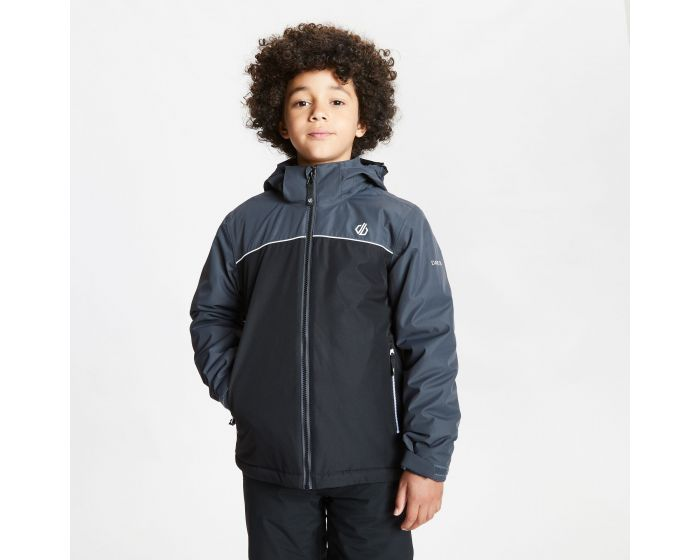 Dare 2b - Kids Impose Waterproof Insulated Hooded Ski Jacket Black Ebony Grey