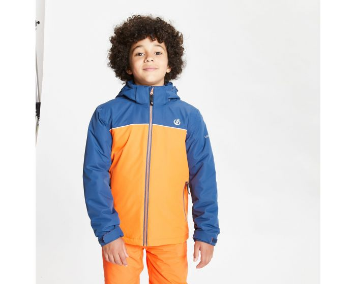 Dare 2b - Kids Impose Waterproof Insulated Hooded Ski Jacket Blaze Orange Dark Denim