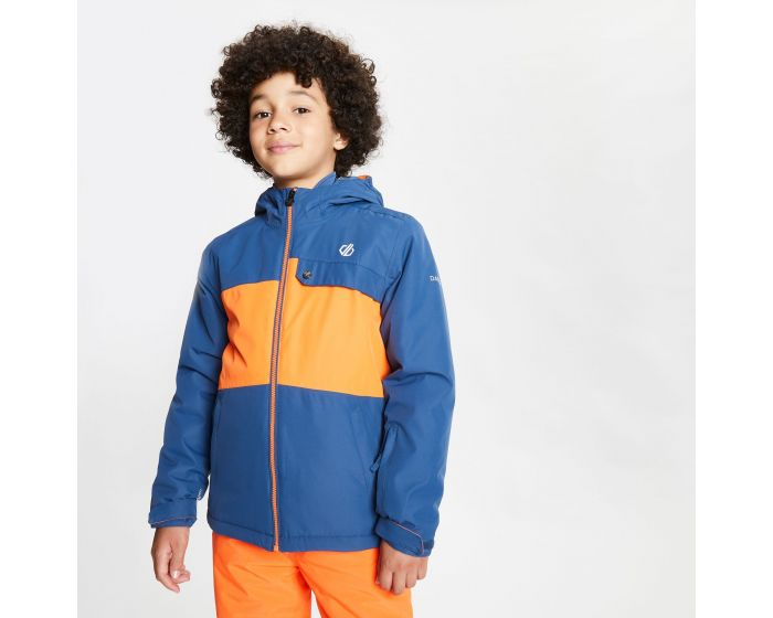 Dare 2b - Kids Enigmatic Waterproof Insulated Hooded Ski Jacket Dark Denim Blaze Orange