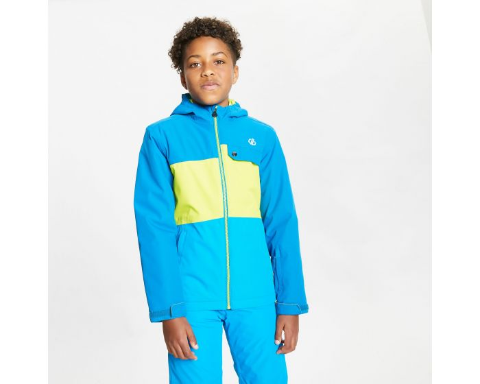 Dare 2b - Kids Enigmatic Waterproof Insulated Hooded Ski Jacket Petrol Blue Lime Punch