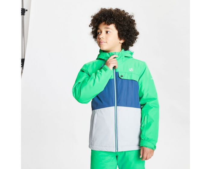 Dare 2b - Kids Enigmatic Waterproof Insulated Hooded Ski Jacket Vivid Green Space Grey