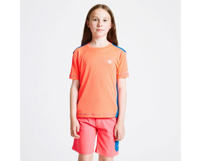 Dare 2b - Kids Bring It On T-shirt Fiery Coral Petrol Blue