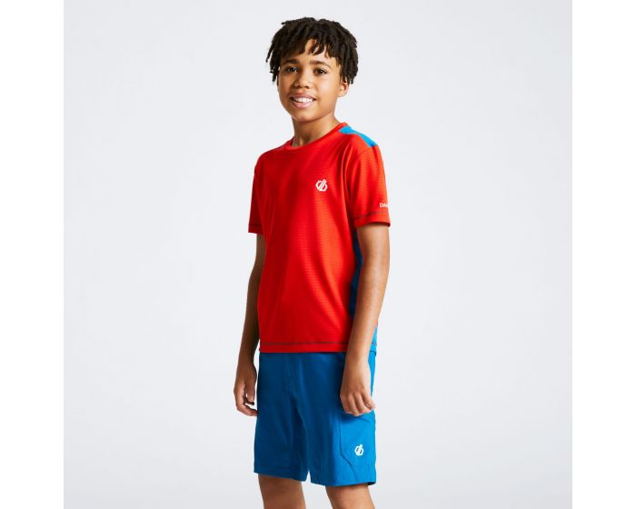 Dare 2b - Kids Bring It On T-shirt Fiery Red Petrol Blue