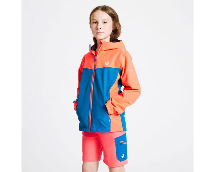 Dare 2b - Kids In The Lead Waterproof Jacket Fiery Coral Petrol Blue