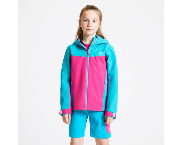 Dare 2b - Kids In The Lead Waterproof Jacket Aqua Blue Active Pink