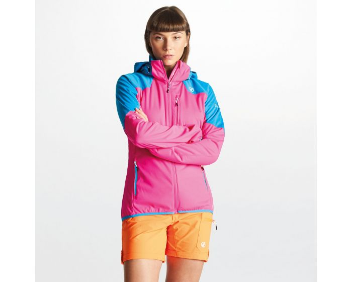 Dare 2b - Womens Inquire Aep Softshell Jacket With Detachable Hood Cyber Pink Blue Jewel