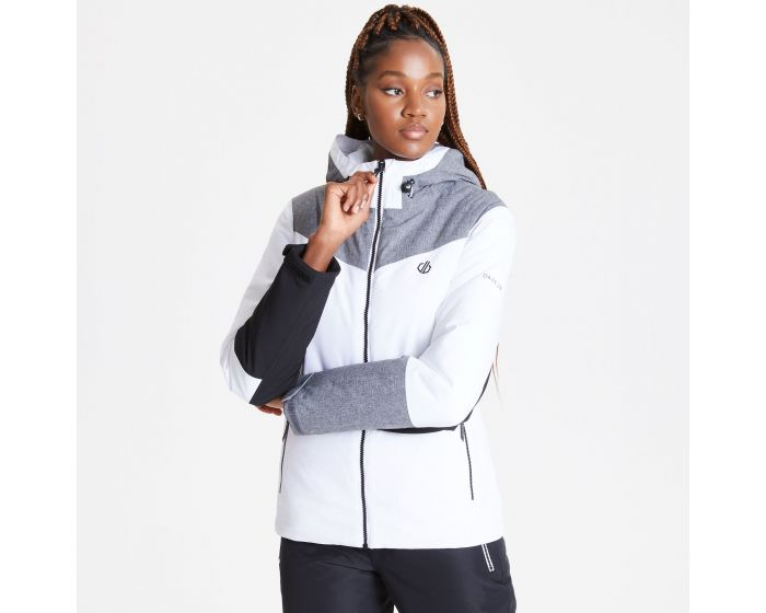 Dare 2b - Womens Ice Gleam Waterproof Insulated Hooded Ski Jacket White Aluminium Grey