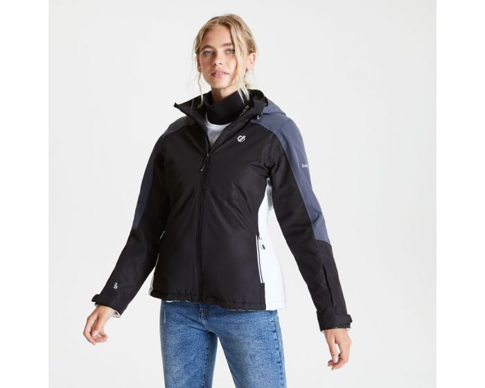 Dare 2b - Womens Radiate Waterproof Insulated Hooded Ski Jacket Black Ebony Grey