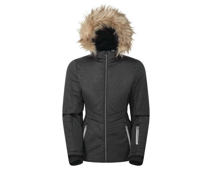 Dare 2b - Womens Auroral Waterproof Insulated Fur Trim Hooded Luxe Ski Jacket Seville Red