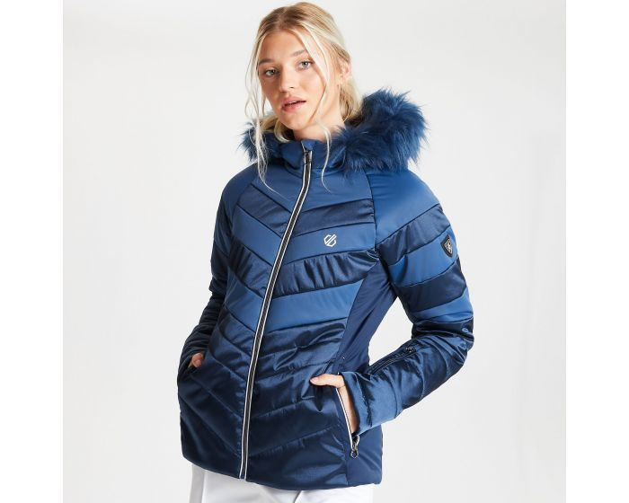 Dare 2b - Womens Dazling Waterproof Insulated Quilted Fur Trim Hooded Luxe Ski Jacket Dark Denim Nightfall Navy