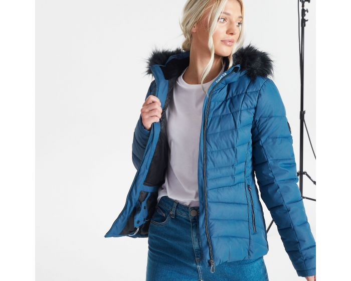 Dare 2b - Womens Glamorize Ii Waterproof Insulated Quilted Fur Trim Hooded Luxe Ski Jacket Dark Denim