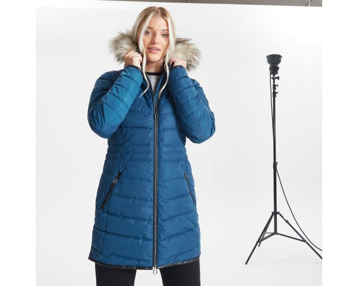 Dare 2b - Womens Striking Waterproof Insulated Quilted Fur Trim Hooded Parka Luke Ski Jacket Dark Denim