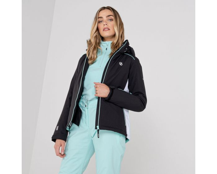Dare 2b - Womens Glamorize Ii Waterproof Insulated Quilted Fur Trim Hooded Luxe Ski Jacket Black