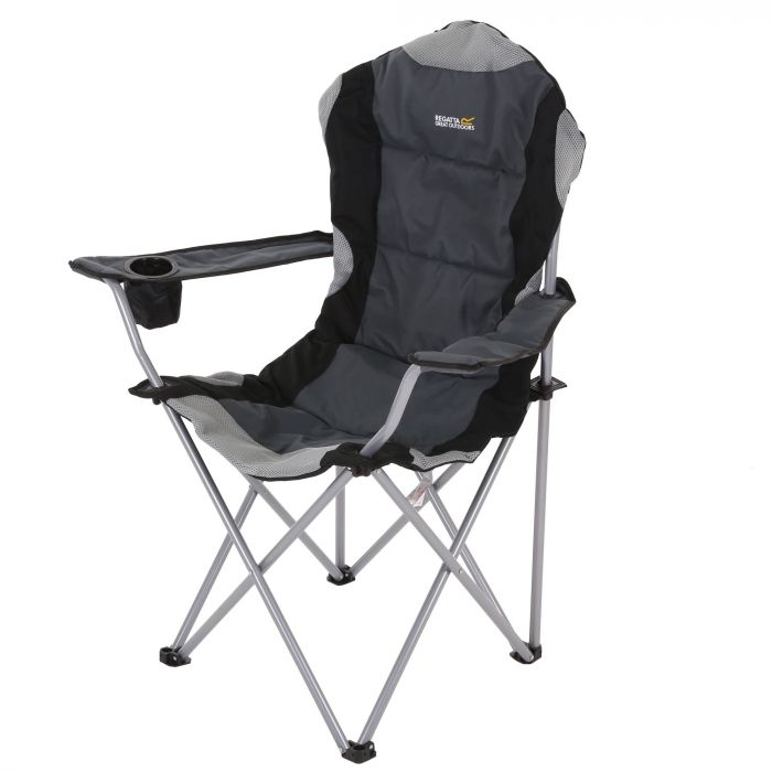 Remarkable Kruza Padded Folding Camping Chair With Storage Bag Black Seal Grey Pabps2019 Chair Design Images Pabps2019Com