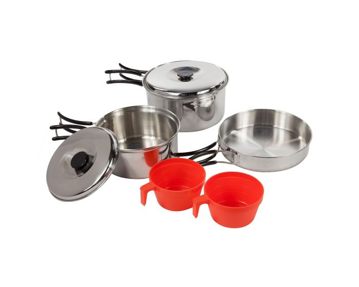 Compact Stainless Steel Cook Set With Storage Bag Silver