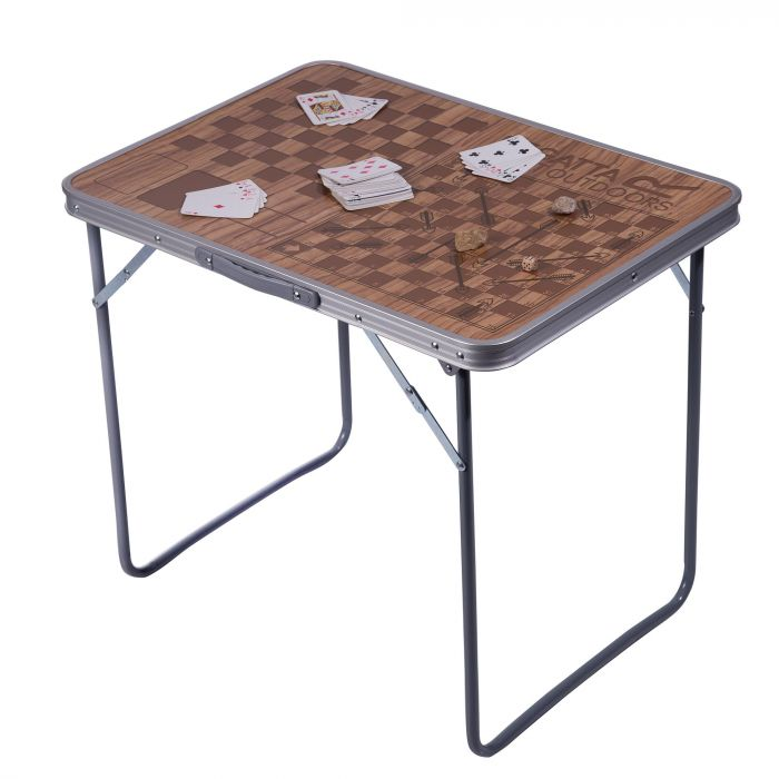 Classic Folding Camping Games Table Brown