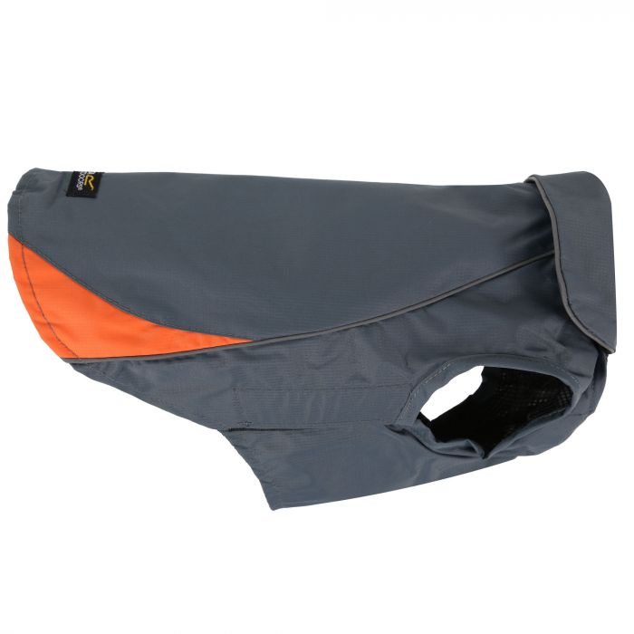 Reflective Lightweight Rainguard Dog Coat S Grey Orange
