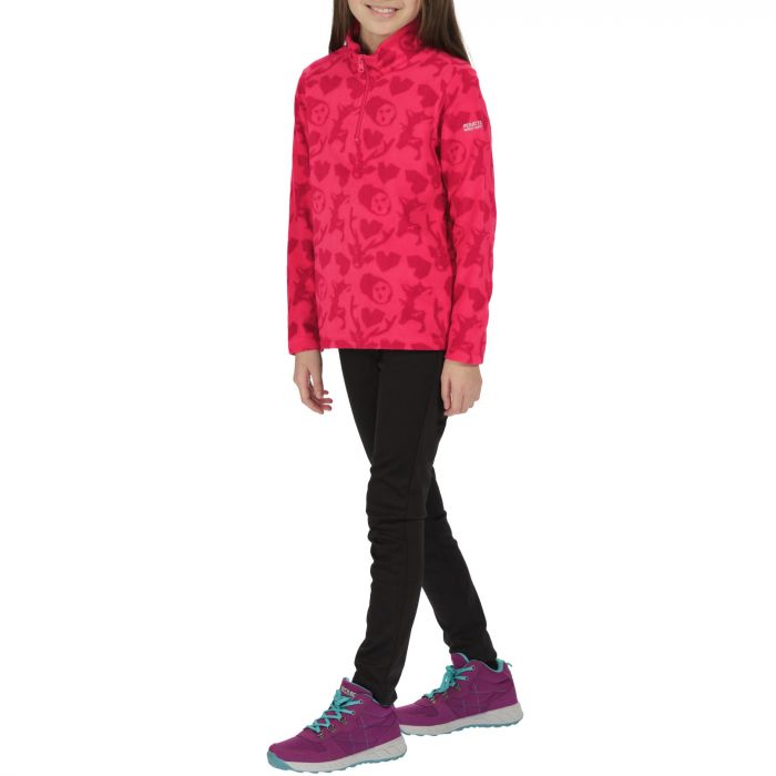 Kids Lovely Jubblie Lightweight Half Zip Fleece Bright Blush Woodland Print