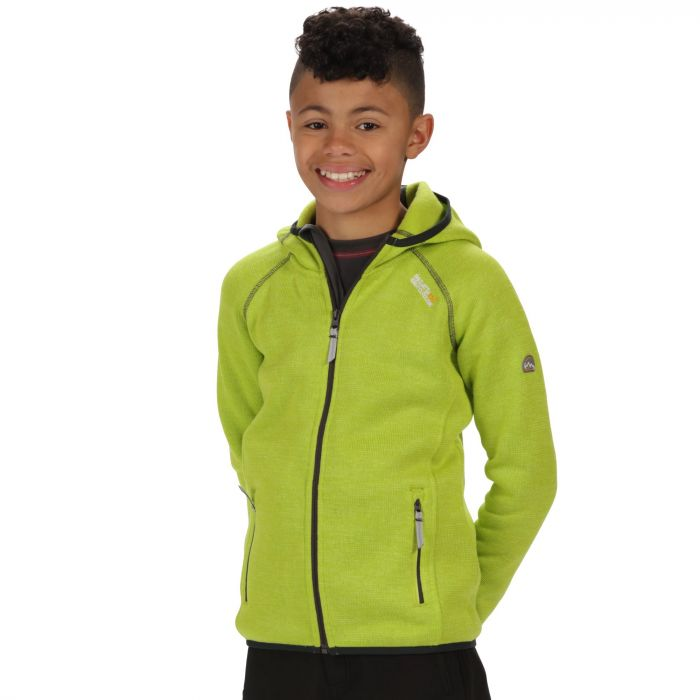 Kids Dissolver Mid Weight Knit Effect Hooded Fleece Lime Zest