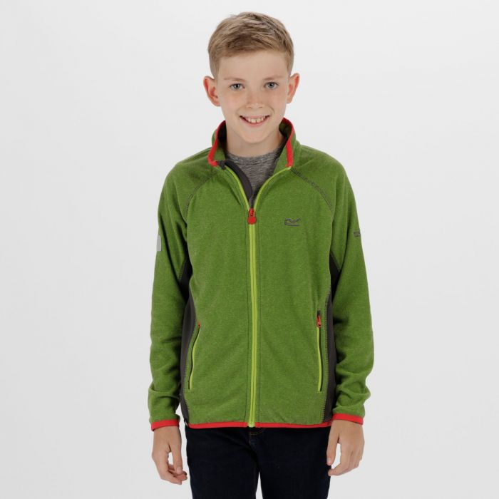Pira Full Zip Mini Stripe Fleece Lime Green Seal Grey
