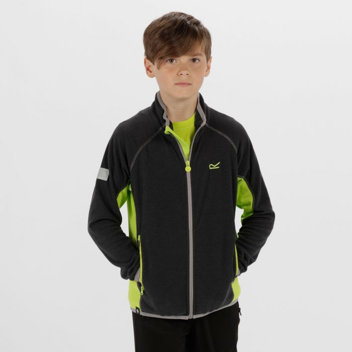 Kids Pira Full Zip Mini Stripe Fleece Seal Grey Lime Zest