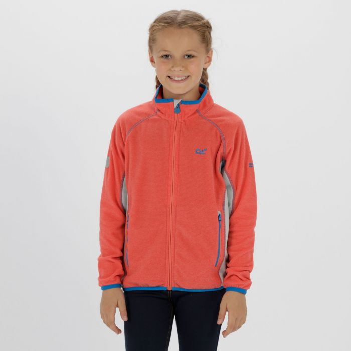 Kids Pira Full Zip Mini Stripe Fleece Coral Blush Light Steel