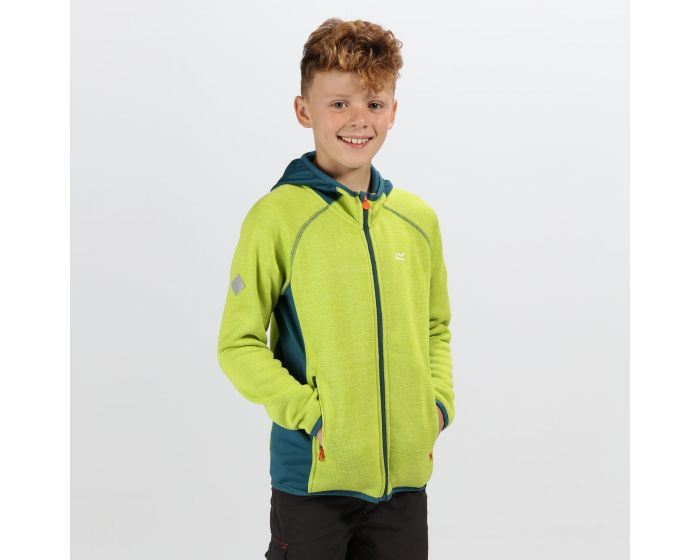 Kids Dissolver Ii Hooded Fleece Lime Punch Sea Blue