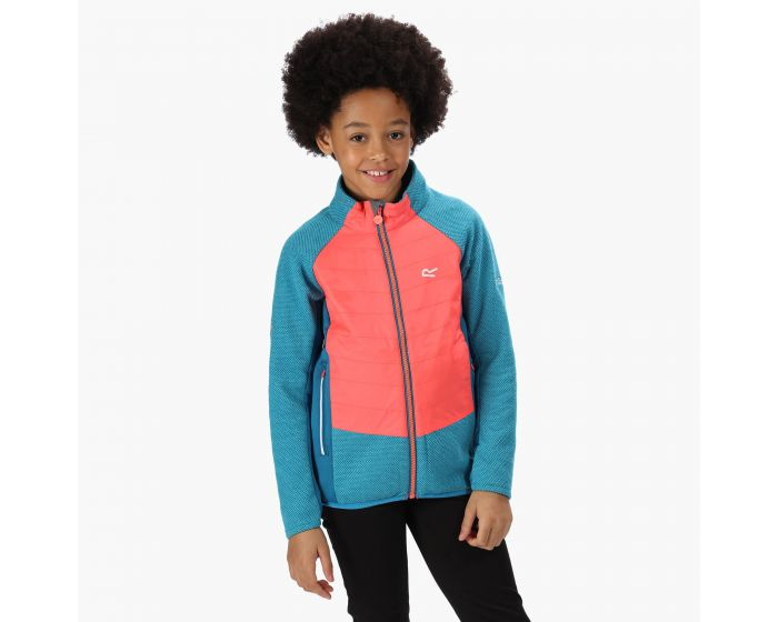 Kids Elter Full Zip Stretch Fleece Petrol Blue Fiery Coral