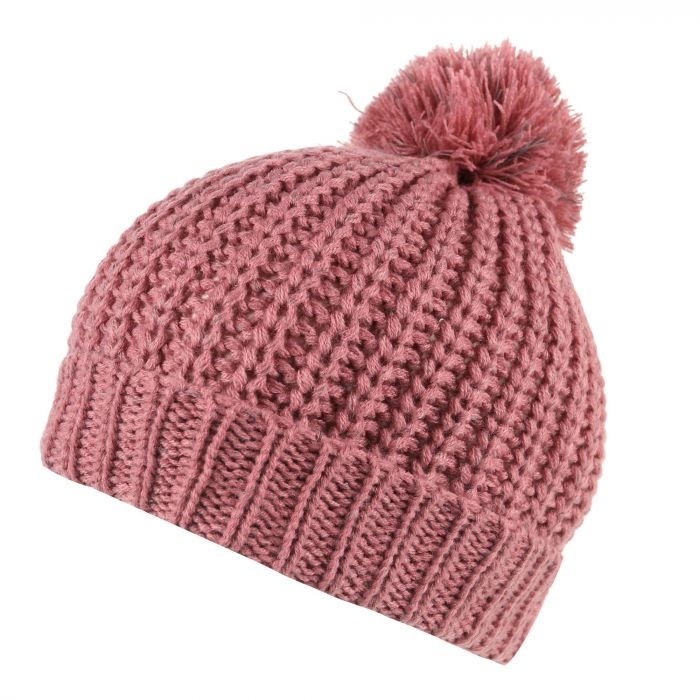 Luminosity Ii Reflective Knit Bobble Hat Dusty Rose