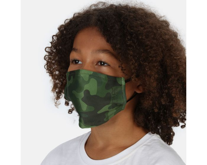 Kids Face Covering 3 Pack Racing Green Camo
