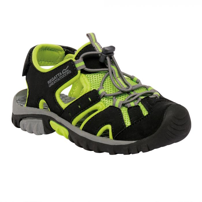 Kids Deckside Sandal Black Lime