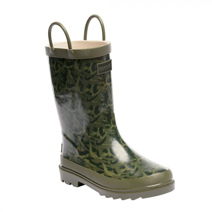 Kids Minnow Wellington Boots Fauna Bay Leaf