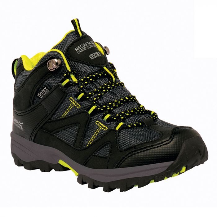 Kids Gatlin Mid Walking Boots Black Neon Spring