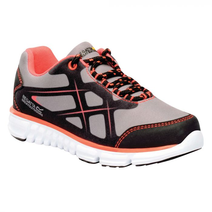 Kids Kota Lite Walking Shoes Rock Grey Neon Peach