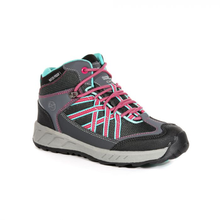 899f24ee0388c3 Kids Samaris Mid Hiking Walking Boots Granite Duchess | Regatta ...