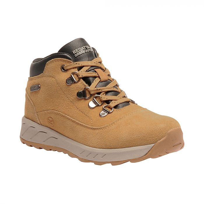 Kids Grimshaw Mid Suede Casual Walking Boots Spruce Yellow