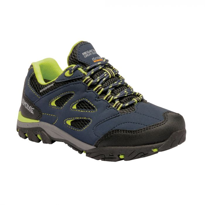Kids Holcombe Low Walking Shoes Navy Blaze Lime Punch