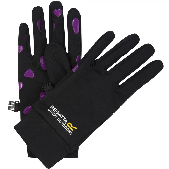 Kids Grippy Stretch Gloves Black Vivid Viola Heart