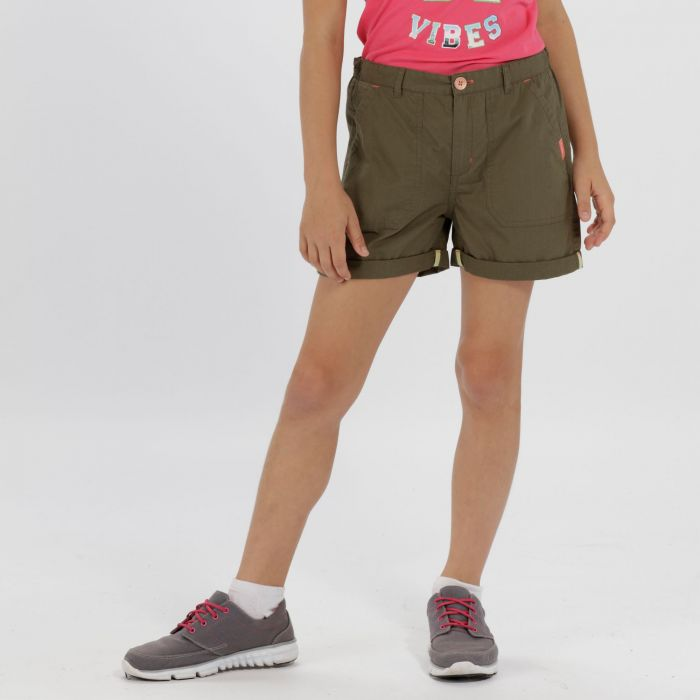 Kids Damzel Cool Weave Cotton Shorts Ivy Green