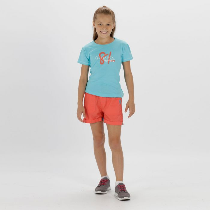 Kids Damzel Cool Weave Cotton Shorts Neon Peach