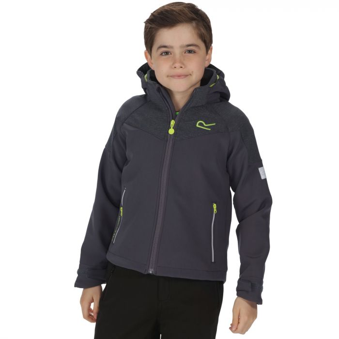 Kids Acidity Hooded Softshell Jacket Iron Seal Grey Reflective
