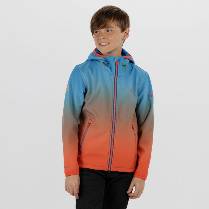 Kids Anodize Hooded Woven Stretch Softshell Jacket Skydiver Blue Amber