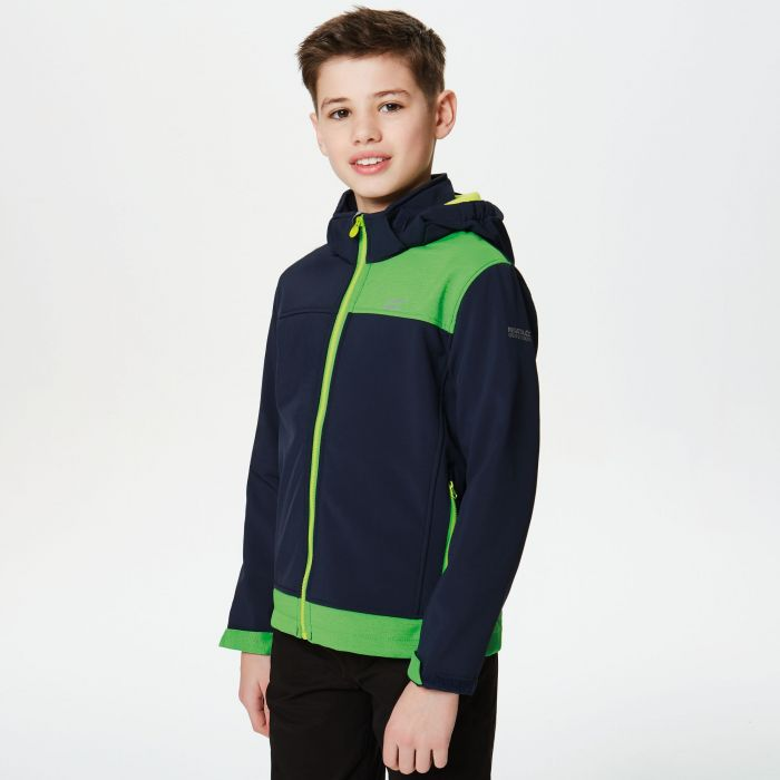 Astrox Wind Resistant Softshell Jacket Navy FairWay Green Reflective