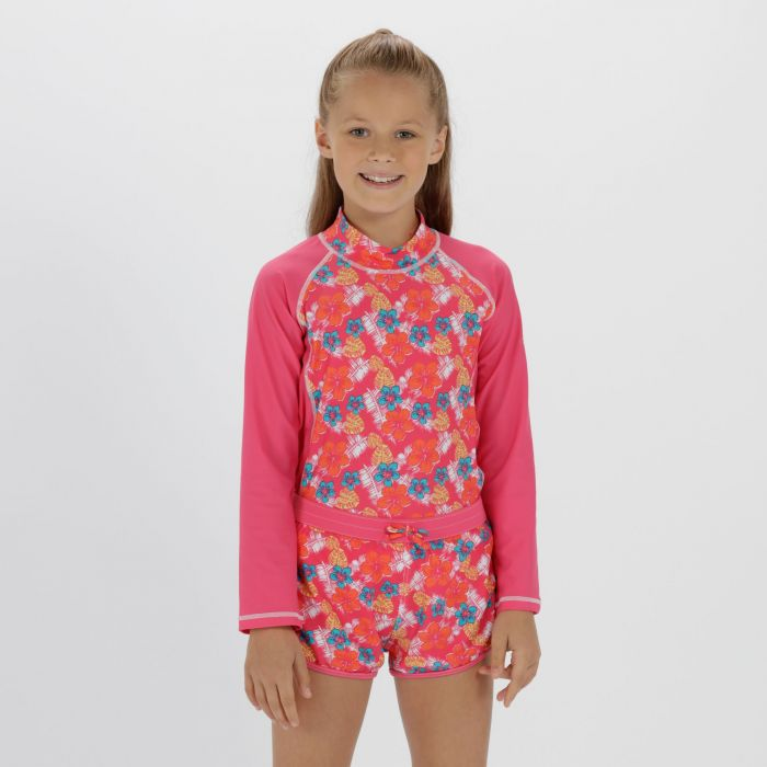 Kids Frilla Swimming Shorts Hot Pink Tropical
