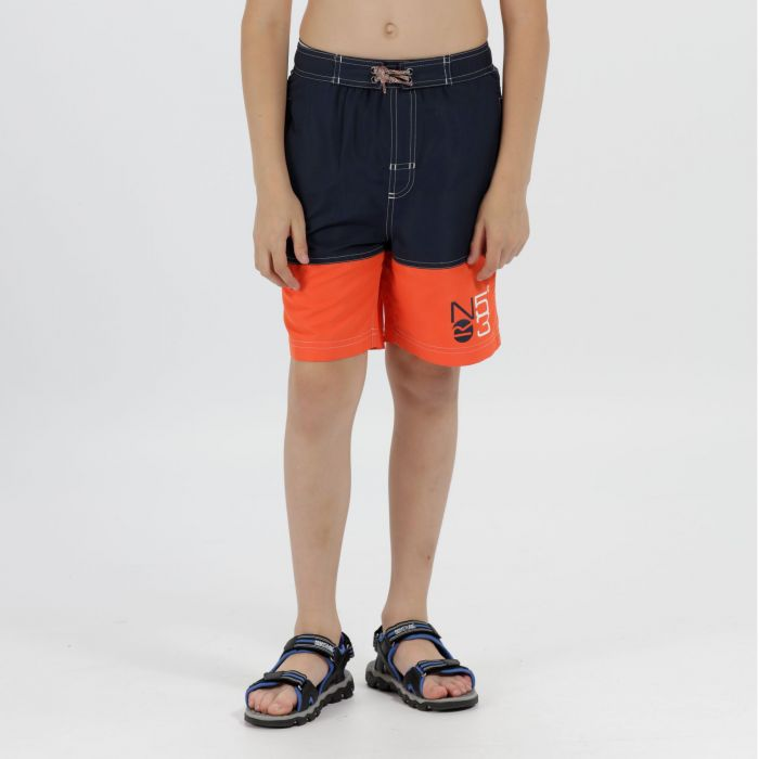 Kids Shaul Swimming Shorts Navy Amber Glow
